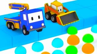 Download Hide And Seek : Learn with Tiny Trucks: bulldozer, crane, excavator , Educational cartoon Video