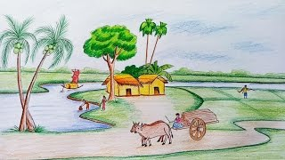 Download How to draw scenery of rural life Video