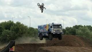 Download Backflip over Red Bull KAMAZ truck in Russia Video