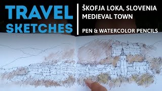 Download Drawing a medieval urban scene Video