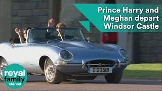 Download Prince Harry and Meghan Markle depart Windsor Castle in classic open-top sports car Video