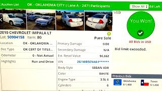 Download Copart Auction Live Bidding + Win!!! 86K Mile 2010 Impala!! Video