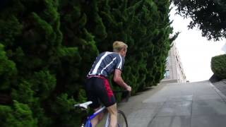 Download Bike up San Francisco's 2nd steepest hill (38% Gradient) Broderick and Broadway. Video