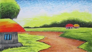 Download How to Draw a Village Landscape with Oil Pastels | Episode-2 Video