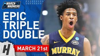 Download Ja Morant EPIC Triple-Double Full Highlights vs Marquette 2019.03.21 - 17 Pts, 11 Reb, 16 Ast Video