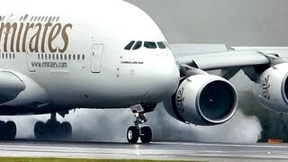 Download Emirates / Airbus a380 ″SuperJumbo″ Landing at a Wet rwy at Manchester (Full HD1080p) Video