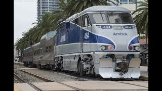 Download 4K - Private Car Switching in Downtown San Diego Featuring Amtrak Veterans Unit #90208 Video
