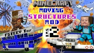Download MINECRAFT MOVING STRUCTURES! Bus, Boat, Plane, Movie Theater | Instant Massive Structures 2 Mod Video