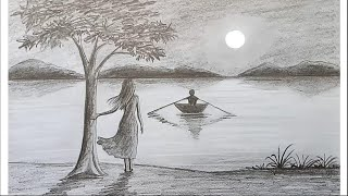 Download How to draw scenery of Moonlight night by pencil sketch.. step by step Video