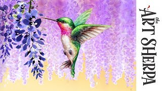 Download How to paint with Acrylic on Canvas Wisteria Hummingbird Dream Video