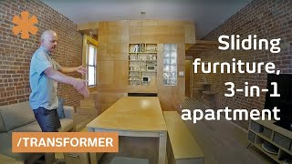 Download Fluid NYC flat uses sliding furniture to create 3 rooms in 1 Video