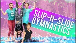 Download FUNNY SLiP-N-SLiDE GYMNASTiCS CHALLENGE! (ft. Hayley & Annie LeBlanc from Bratayley) Video