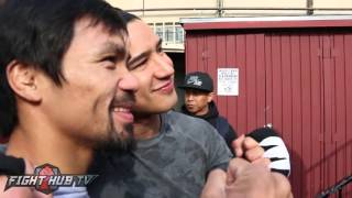 Download Manny Pacquiao in $250,000 Ferrari leaving the Wild Card! We ask him for a ride! Video