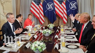 Download Trump and Stoltenberg get into tense exchange at NATO summit Video