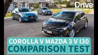 Download Toyota Corolla v Hyundai i30 v Mazda 3 Comparison Test | Drive.au Video
