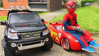 Download Spider-Man Ride Cars Lightning McQueen and Ford Ranger Video