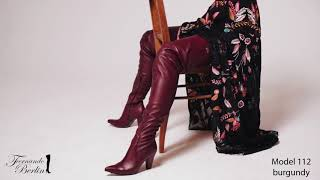 Download Model 112 in burgundy - crotch high boot classics Video