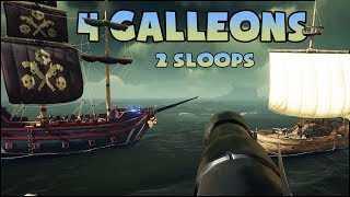 Download 4 GALLEONS 2 SLOOPS • Sea of Thieves epic battle - PC Gameplay Video