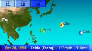 Download 1994 West Pacific Typhoon Season Animation Video