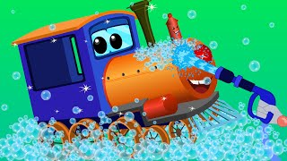 Download train car wash | car cartoons for children | kids video Video