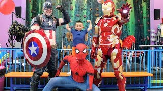 Download MY SUPERHERO BIRTHDAY! Indoor Kids Playground Fun With Spider Man Captain America Iron Man and CKN Video