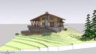 Download Жилой дом на рельефе в стиле шале. Эскиз. Video