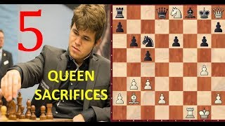 Download 5 Greatest QUEEN SACRIFICES by Magnus Carlsen! Video