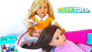 Download Baby Doll Hair Cut Shop! Play American Girl Doll Spa & Hair Style Salon Toys ! Video