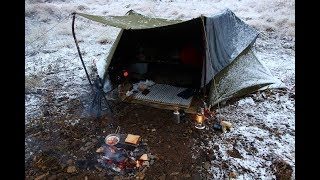 Download winter camping 河原で焚き火料理 米軍テントでソロキャンプ Video