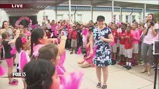 Download Flash mob welcomes back teacher battling cancer Video