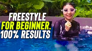 Download Beginner girl learn to swim Freestyle step by step Video