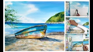 Download Watercolor Boat on a Beach Painting Process Video