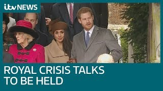 Download Queen summons Royals to resolve Meghan and Harry crisis   ITV News Video