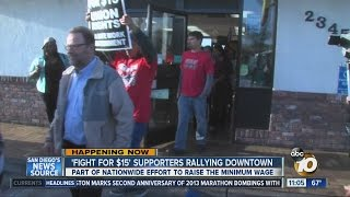 Download San Diego workers rally for $15 minimum wage Video