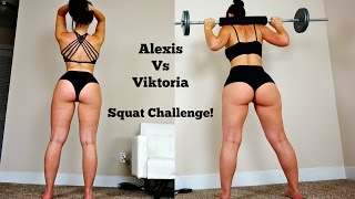 Download BIG BOOTY Girls Squat Contest: Viktoria vs Alexis, Who Will Win! Video