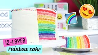 Download How to Make a TWELVE LAYER Rainbow Cake! Video