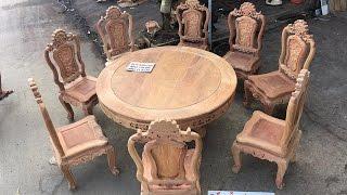 Download Bộ bàn ghế ăn gỗ hương đá,mẫu hoa lá tây (louis) kiểu pháp 8 ghế,1 bàn tròn 26-6-2016 Video