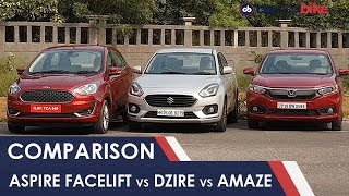 Download Ford Figo Aspire Facelift vs Maruti Suzuki Dzire vs Honda Amaze: Comparison Review | NDTV carandbike Video