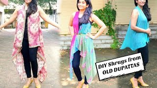 Download Two Types of Shrugs from Old Dupattas/Scarves in just 2 Minutes // Reuse Old Dupattas & Scarves Video