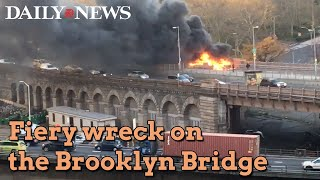 Download Crash burns on Brooklyn Bridge Video