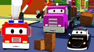 Download Car Patrol in Car City - The Car Patrol: fire truck and police car and the Railway Line Accident Video