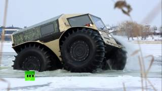 Download Real ATV: Russian badass lunar-rover like truck storms swamps, lakes, forests Video