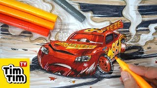 Download How to draw CARS 3 LIGHTNING McQUEEN crashed badly injured Easy step-by-step for kids | Coloring Video