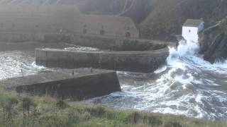 Download Porthgain harbour (Pembrokeshire, Wales) in stormy sea Video