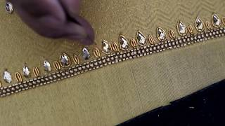 Download GOLDEN DESIGNER BLOUSE | KUNDHAN JALI WORK | AARI HAND EMBROIDERY Video