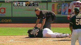 Download BOS@OAK: Norris gets hit on backswing, leaves game Video