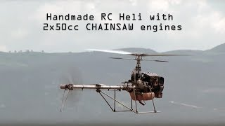 Download Handmade rc helicopter 2Χ50cc CHAINSAW engines Video