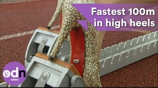 Download Fastest 100m in high heels in Guinness World Record attempt Video