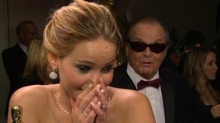 Download Jennifer Lawrence Interrupted by Jack Nicholson at Oscars | Good Morning America | ABC News Video