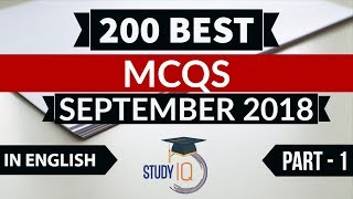 Download 200 Best current affairs September 2018 in ENGLISH Set 1 - IBPS PO/SSC CGL/UPSC/IAS/RBI Grade B 2018 Video